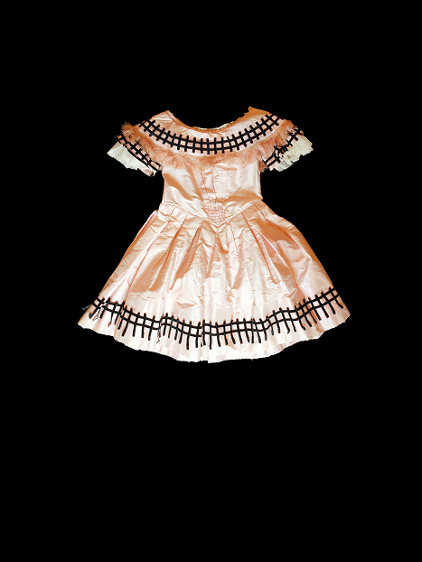 apricot silk taffeta dress front